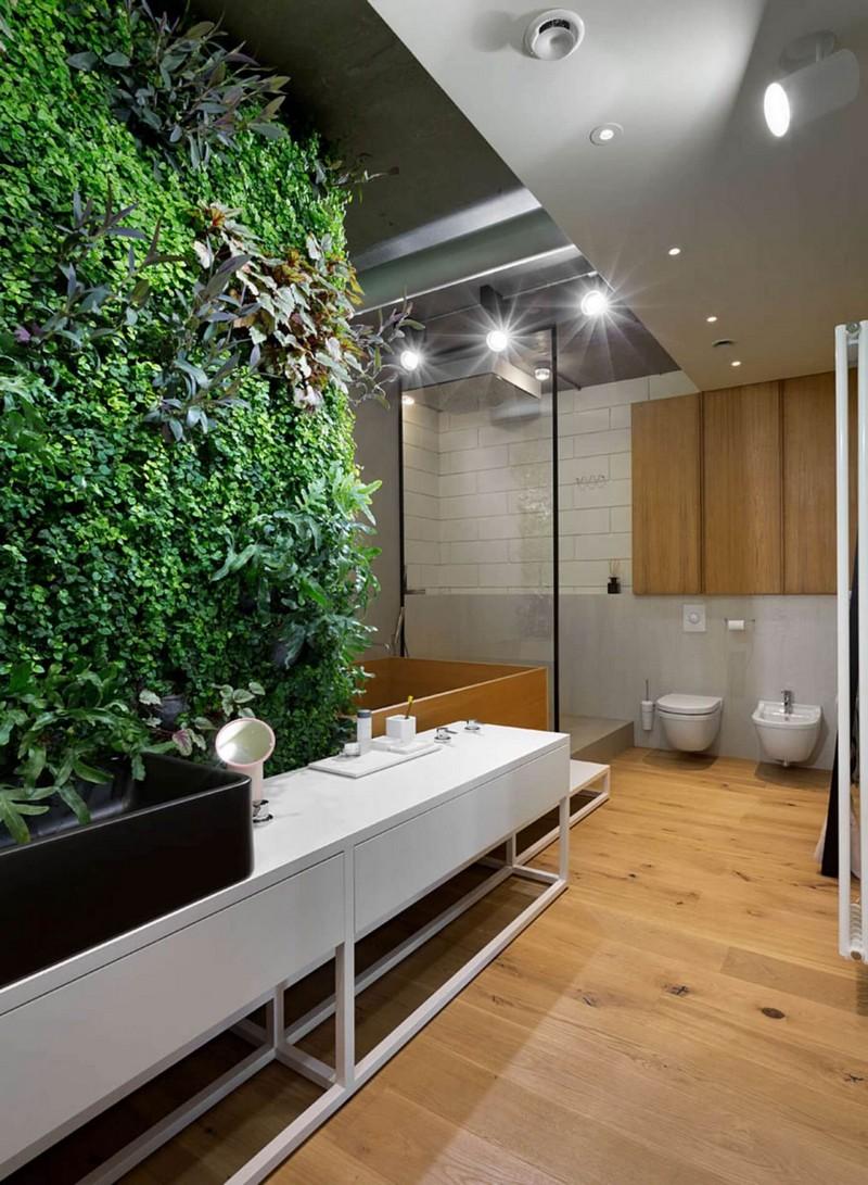 Minimál fürdőszoba élő növényekkel