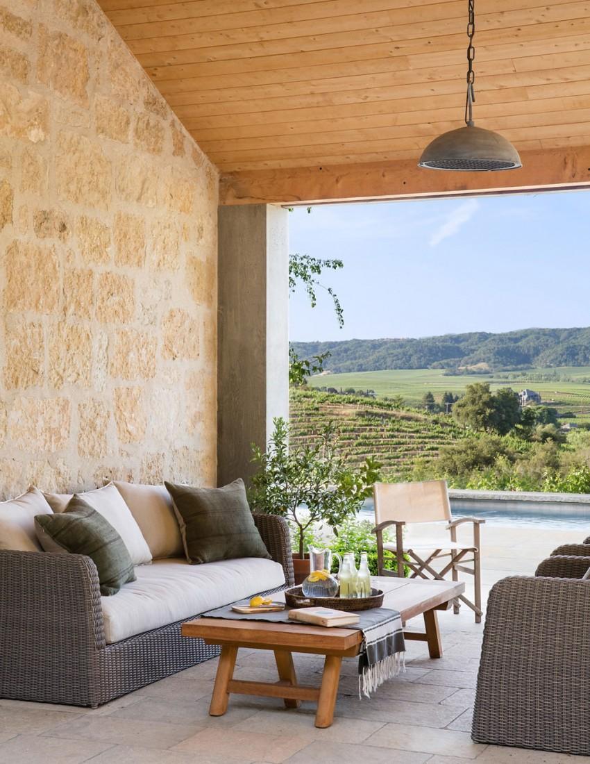 Mediterrán veranda kőfal fonott kültéri, kert kanapé, ülőgarnitúra