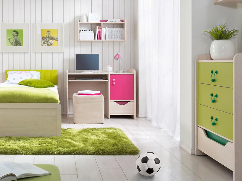Hihot lapraszerelt gyerekbútor zöld és natúra fa, tölgy
