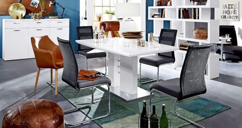 Outlet német magasfényű fehér étkezőasztal