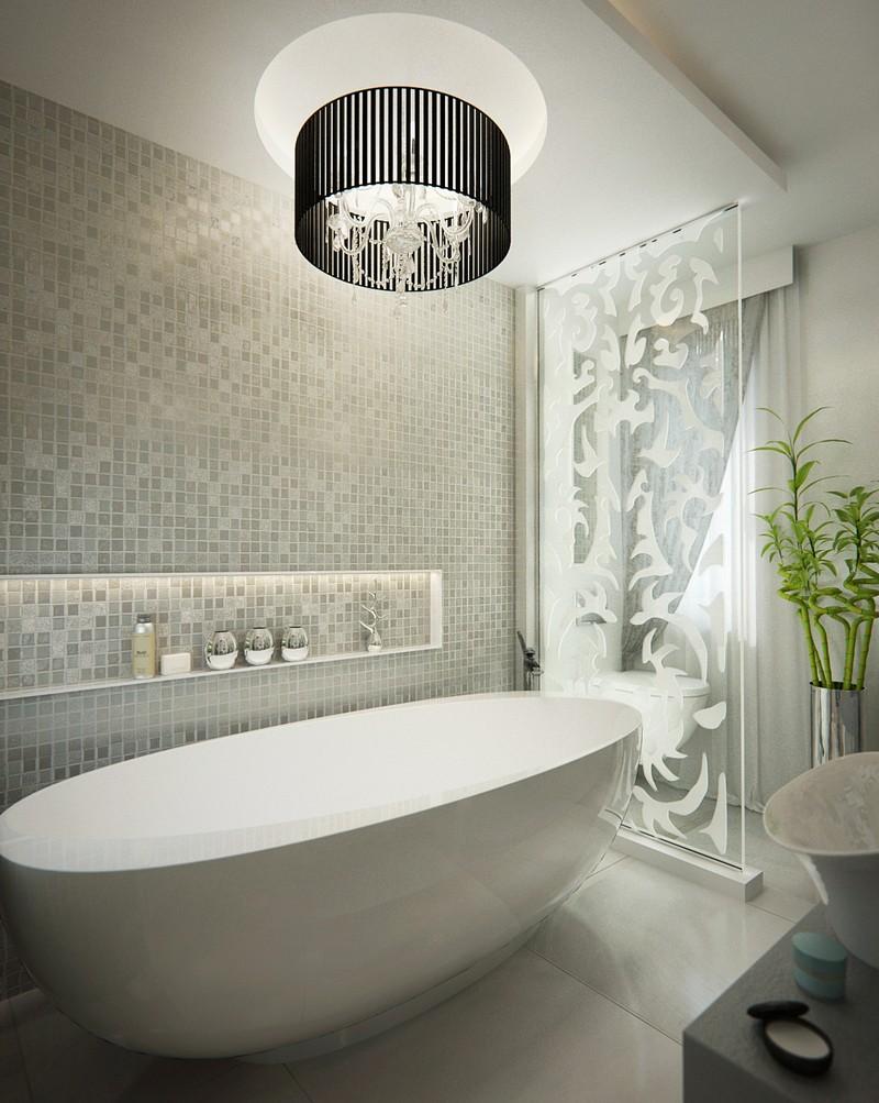 Luxus fürdőszoba falfülkével, mozaik burkolat, DD Interior