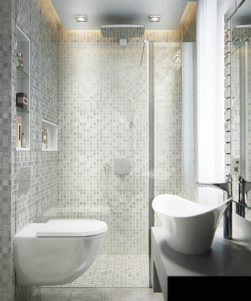 Mozaik burkolat szürke színben a fürdőszobában