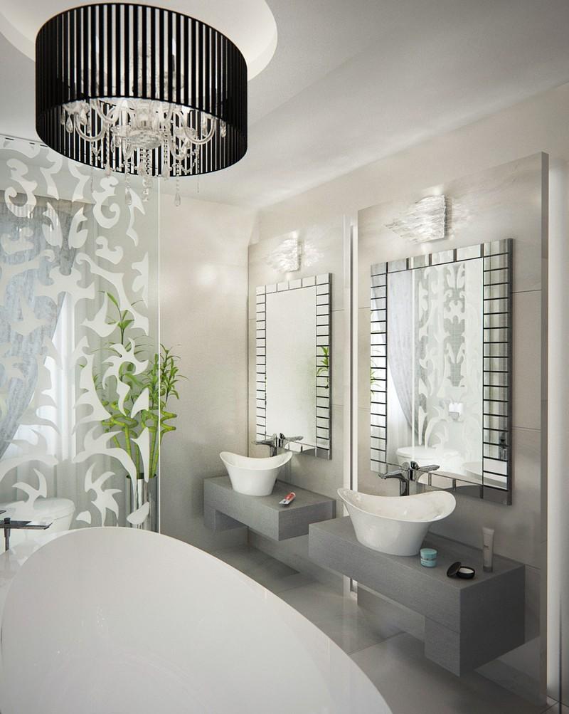 Elegáns fürdőszbai tükör Dóró Judit belsőépítész