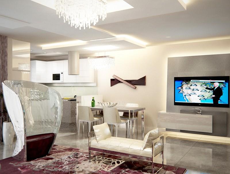 Nappali, étkező, konyha egysége a lakberendezési látványtervekben DD Interior Stúdió