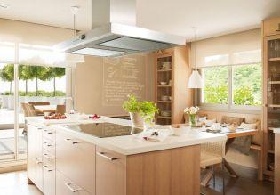 Egyedi tervezésű modern konyhabútor és étkező egy ötfős család részére