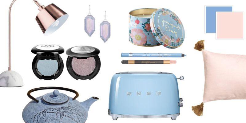 Rose Quartz és Serenity Blue lakberendezési kiegészítők színei