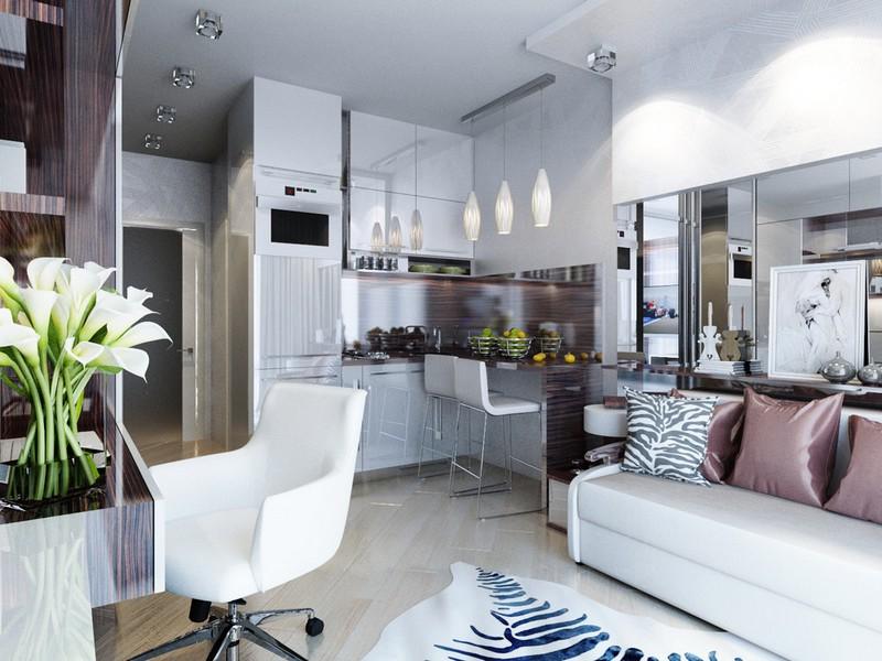 Minilakás lakberendezés konyha és nappali kinyitható kanapéval