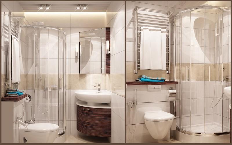 Sarokzuhanyzó kis fürdőszobába és mosdó