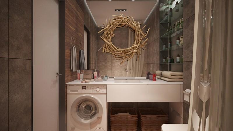 Kis fürdőszoba nagy tükörrel