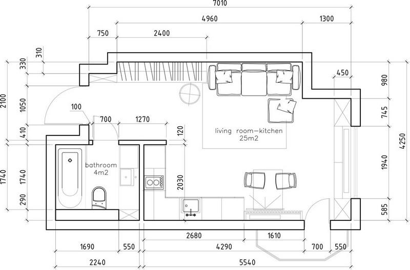 35 m2-es garzonlakás alaprajza
