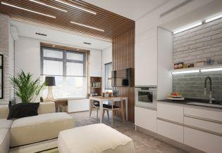 Kiadásra felfrissített 35 m2-es garzon semleges színekkel, tégla és fa dekorelemekkel