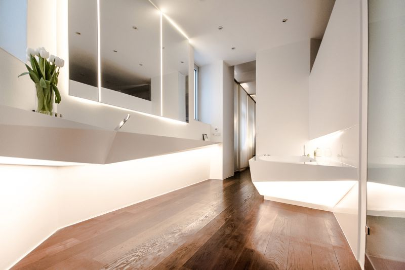 Asszimetrikus mosdó és mosdópult corianból