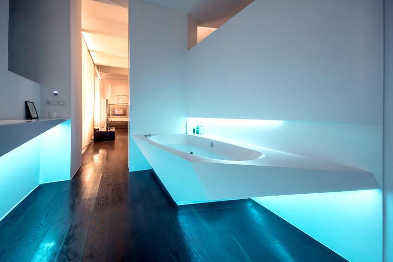 Indirekt led világítás fürdőszobában