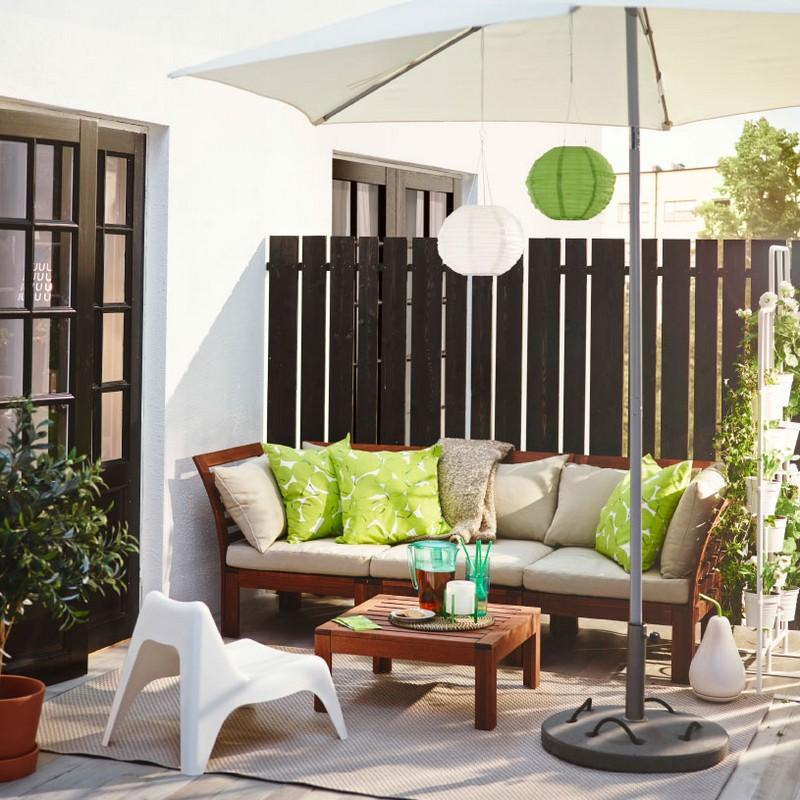 Ikea akácfa kerti bútor és párnák