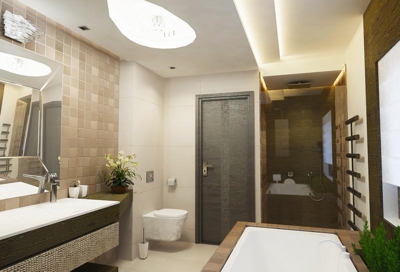 Barnás és bronzos fürdőszoba mozaik burkolattal Dóró Judit tervei alapján