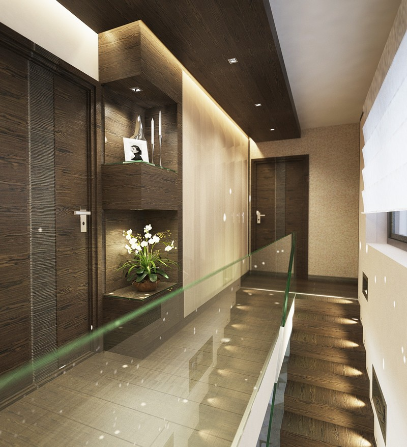 Modern folyosó elrendezés üvegfalakkal Dóró Judit lakberendező
