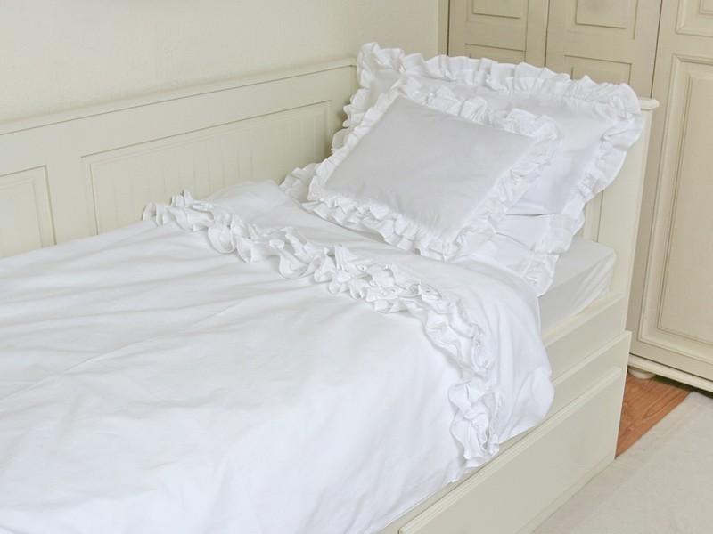 Fehér fodros ágynemű garnitúra
