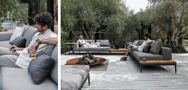 Tectona Garndis Grid lounge kerti és kültéri garnitúra
