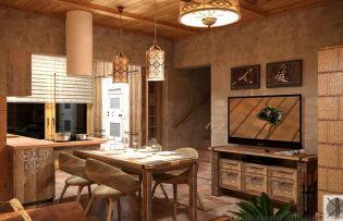 Újjáépített ház egyedi rusztikus lakberendezési megoldásokkal