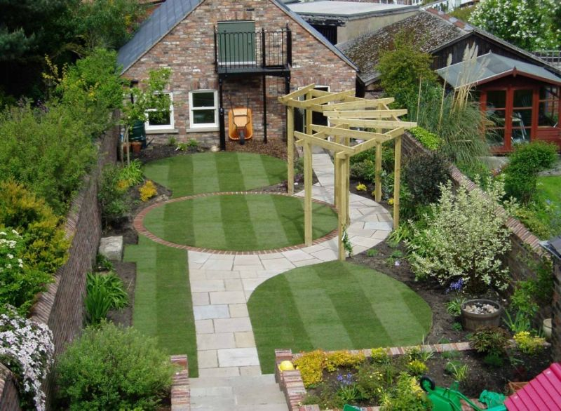 Egyedi hátsó kert terv gyeppel, pergolával