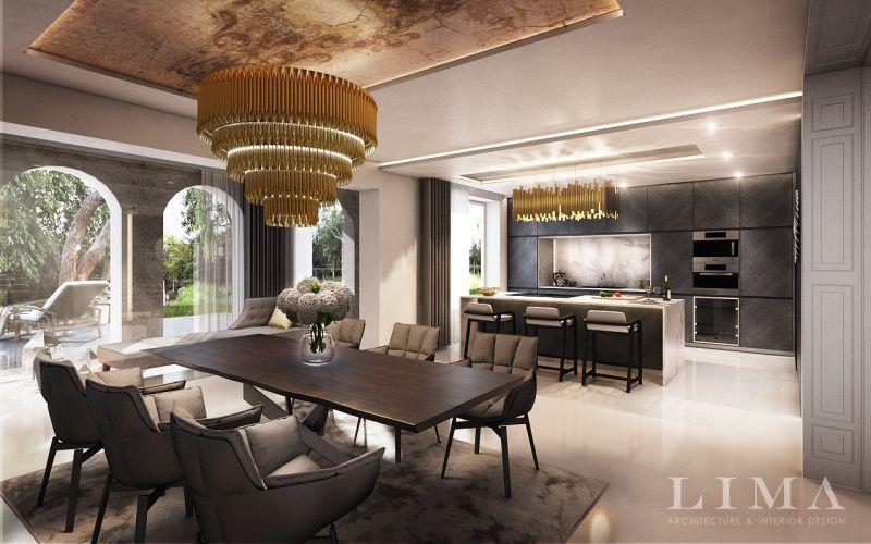 Budai villa elegáns nappali és étkező és konyha lakberendezés