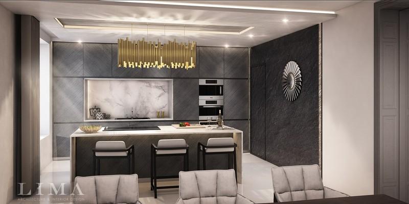 Modern konyha különleges falburkolattal