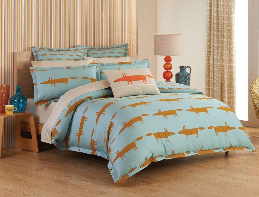 Scion Mr. Fox ágynemű kék minta