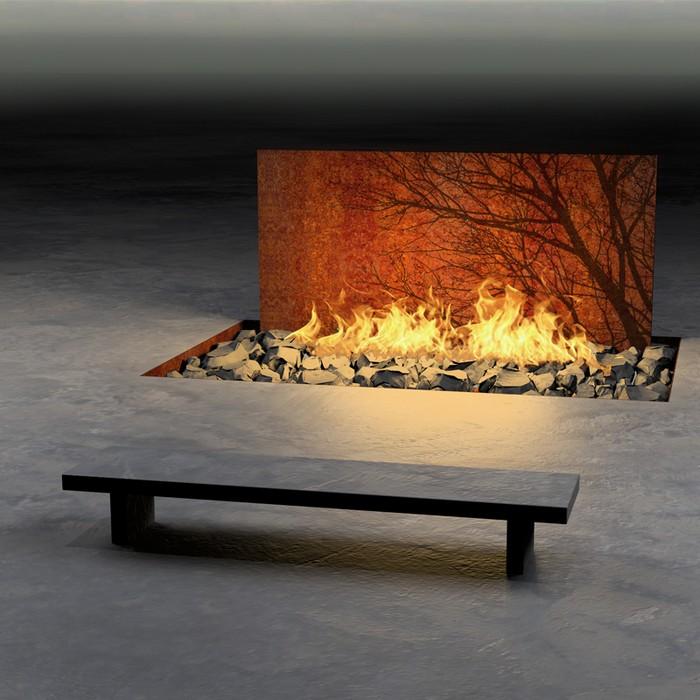 Corten acél kültéri tűzrakó hely
