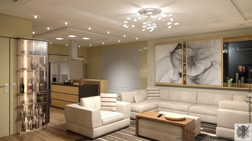 Lakberendezés természetes színekkel - Modern nappali és konyha egy ...