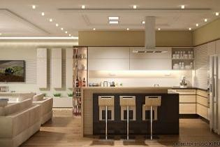 Lakberendezés természetes színekkel - Modern nappali és konyha egy térben