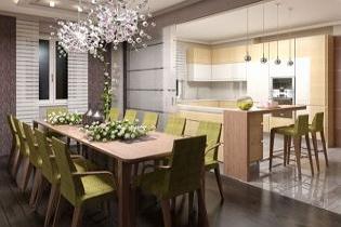 Modern konyha tolóajtóval leválasztható étkezővel, fiatalos nappalival
