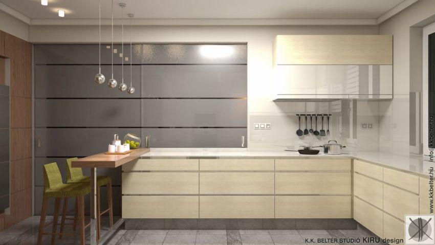 Modern konyha élbemart fogantyúkkal