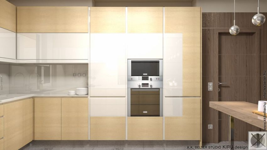 Modern egyedi konyha látványterv gépekkel