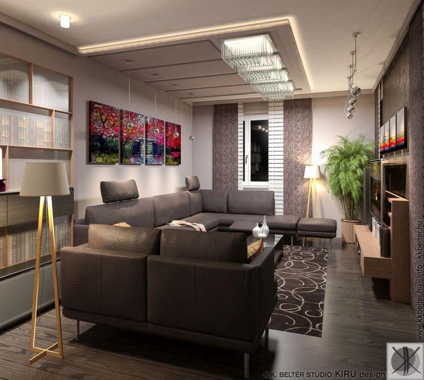 Kanapé és sarokgarnitúra elrendezése nappaliban