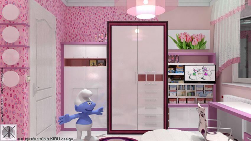 Rózsaszín lányszoba lakberendezés