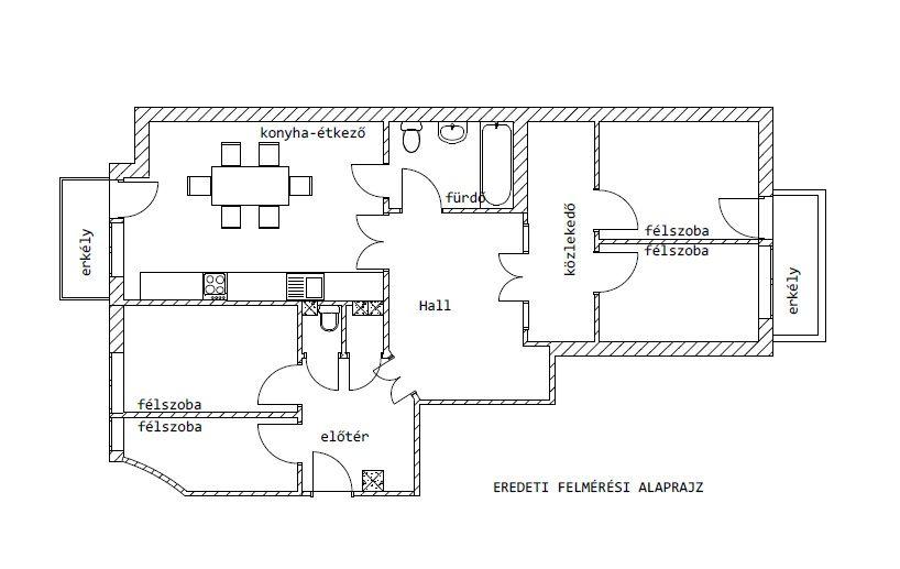Belvároi lakás alaprajt eredeti állapot