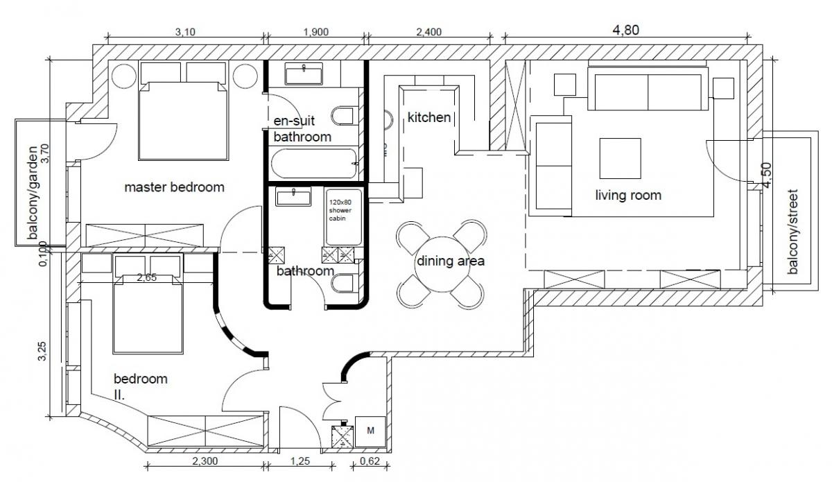 Belvárosi lakás átalakított belső tér alaprajz