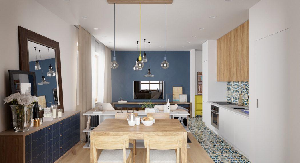 Étkező és konyha egy térben panellakásban