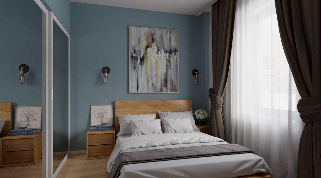 Modern hálószoba panellakásban