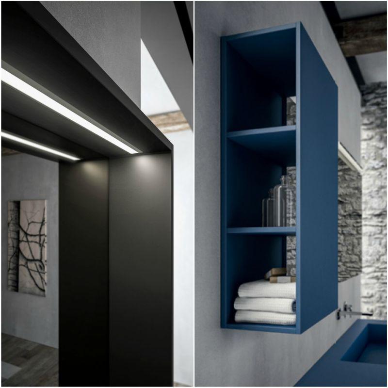 Ideagroup Sense kék fürdőszoba bútor led világítás