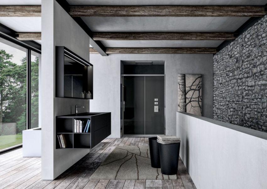 Ideagroup Sense fürdőszoba bútor fekete és nyitott polcos