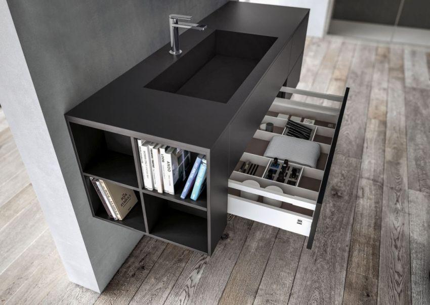 Ideagroup Sense fürdőszoba bútor fekete mosdópult