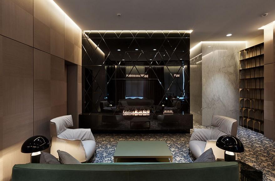 A YOD Design tervezésében luxus iroda kandalló