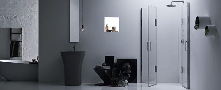 Calibe Thisessi kétajtós sarokzuhany, minimális helyigényű összecsukható ajtókkal