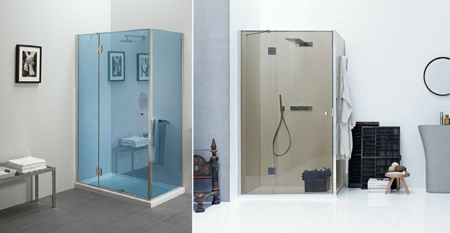 Silis sarokzuhany, bronz és kék színű üveggel, üvegfalra szerelhető akasztóval
