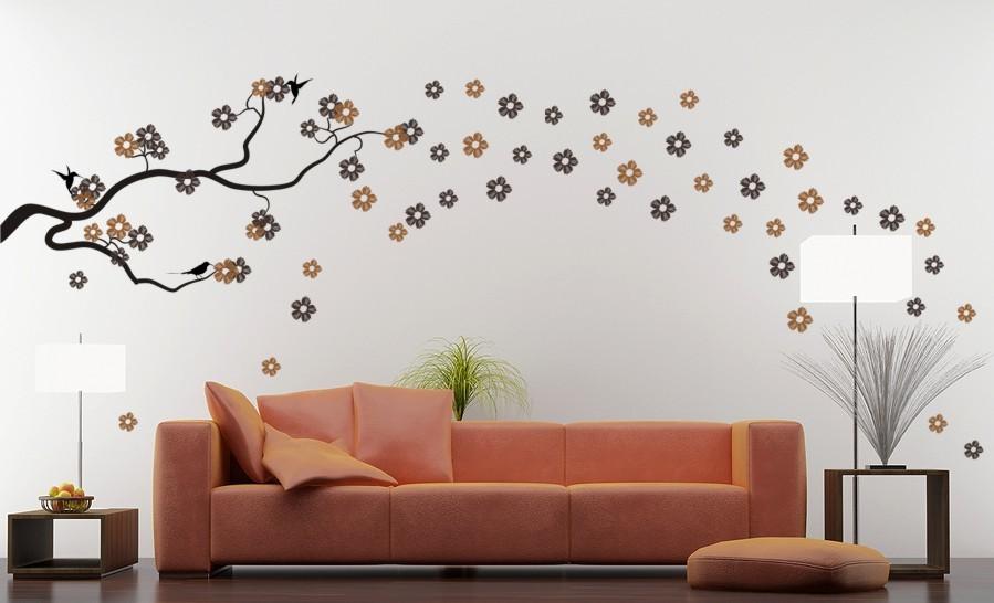 Apró virágmintás falmatrica nappaliba