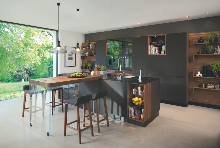 Fekete barna modern konyhabútor