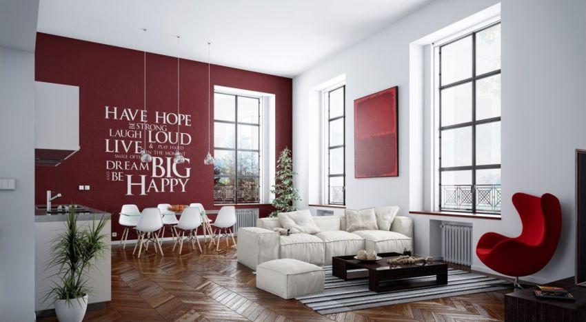 Vörös falon fehér betűk konyhafal dekoráció