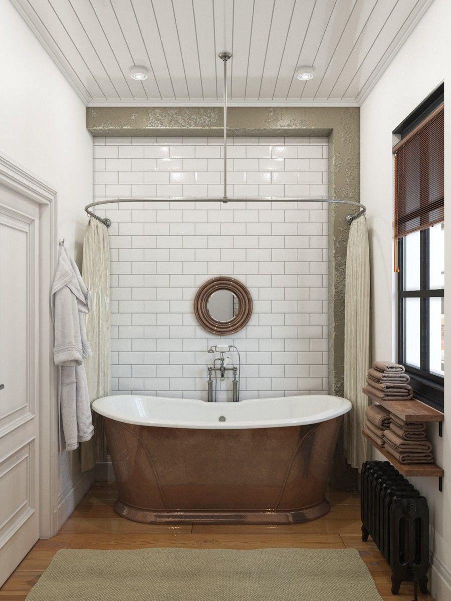 Ipari stílsuú fürdőszoba fehér metró csempe