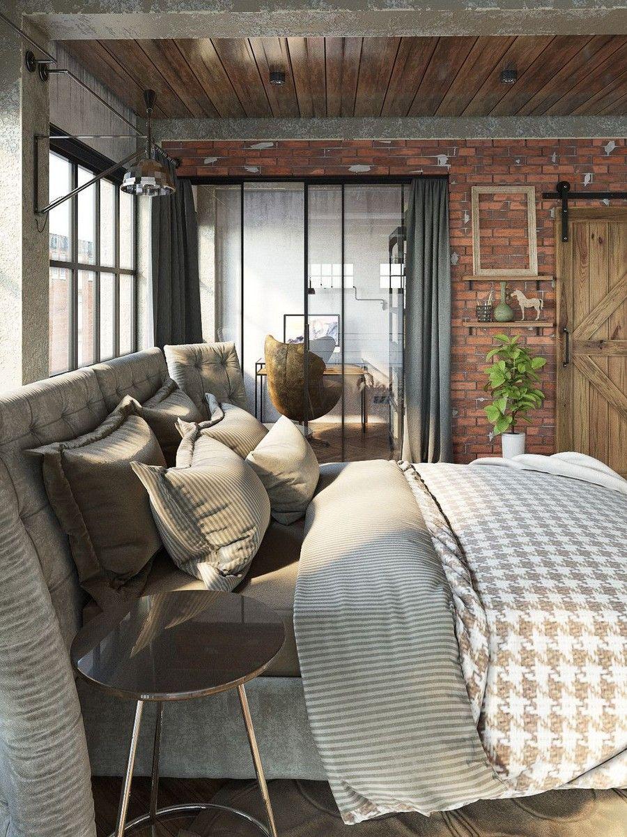 Igényes loft lakás hálószoba és franciaágy